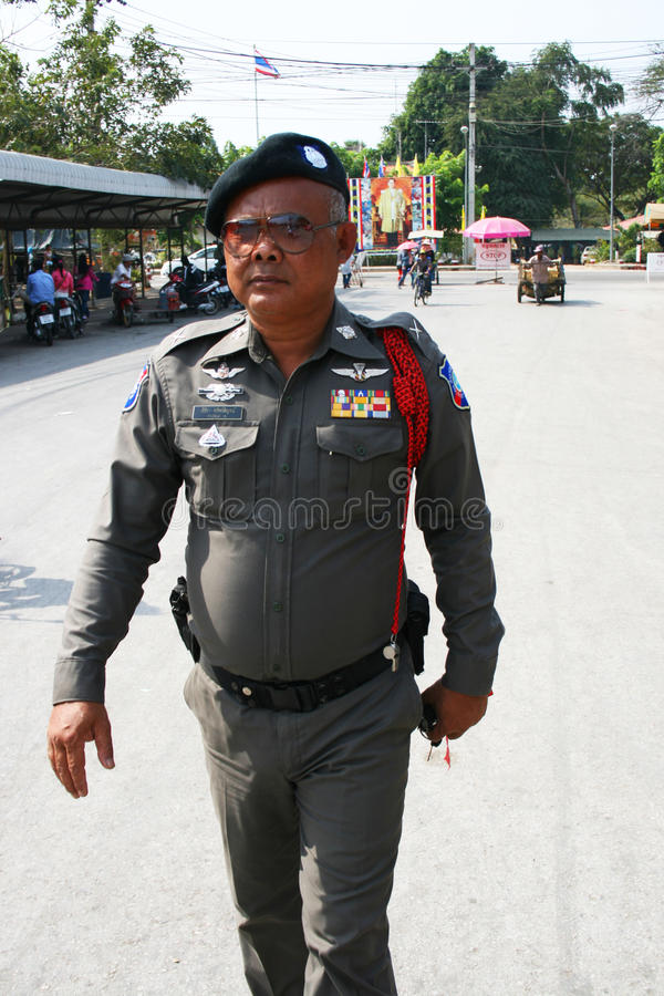 Download Police man in Thailand. editorial photo. Image of political - 18265211