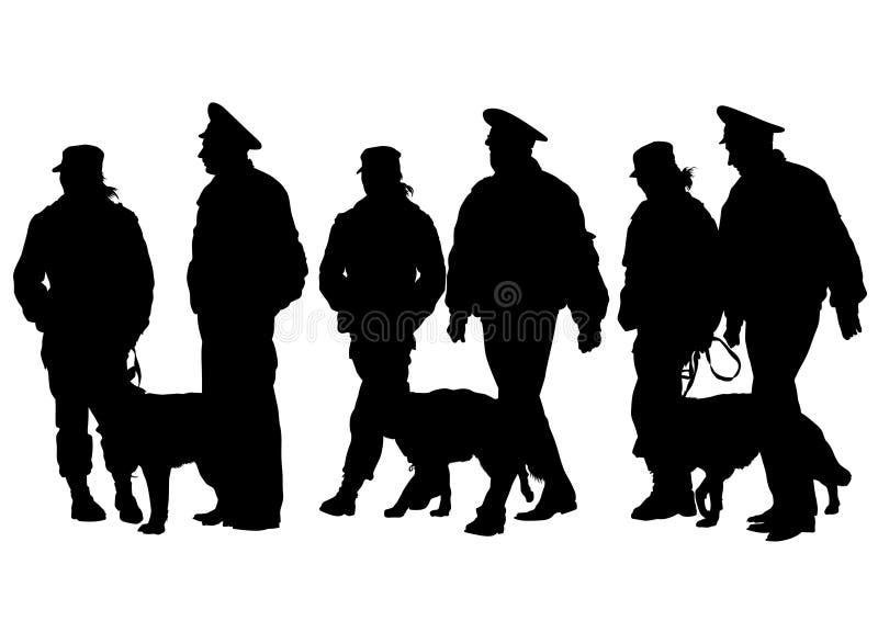 Police man whit dog stock illustration