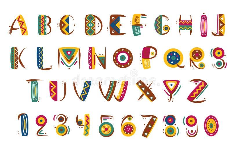 Police mexicaine primitive La lettre indienne ou africaine tribale numérote l'illustration de vecteur illustration libre de droits
