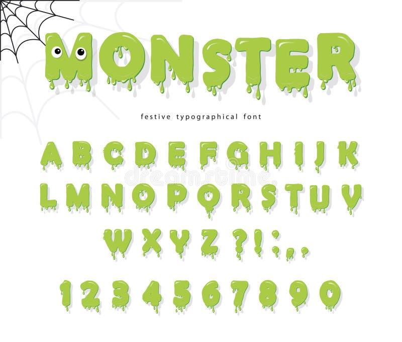 Police mignonne de monstre de Halloween pour des enfants Lettres et nombres verts minces de gelée illustration stock