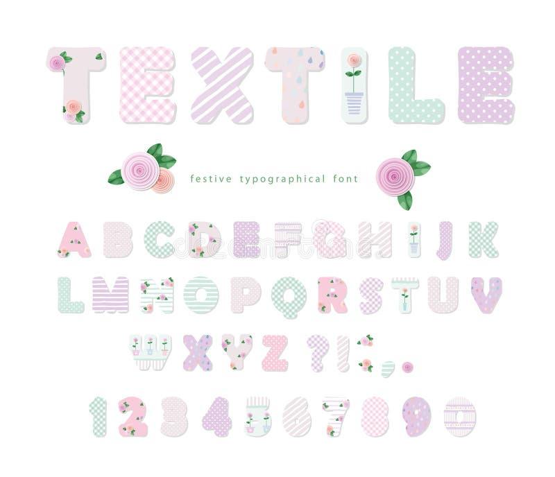 Police mignonne de textile pour la conception d'album ou de collage Style de patchwork Différents modèles inclus sous le masque d illustration libre de droits