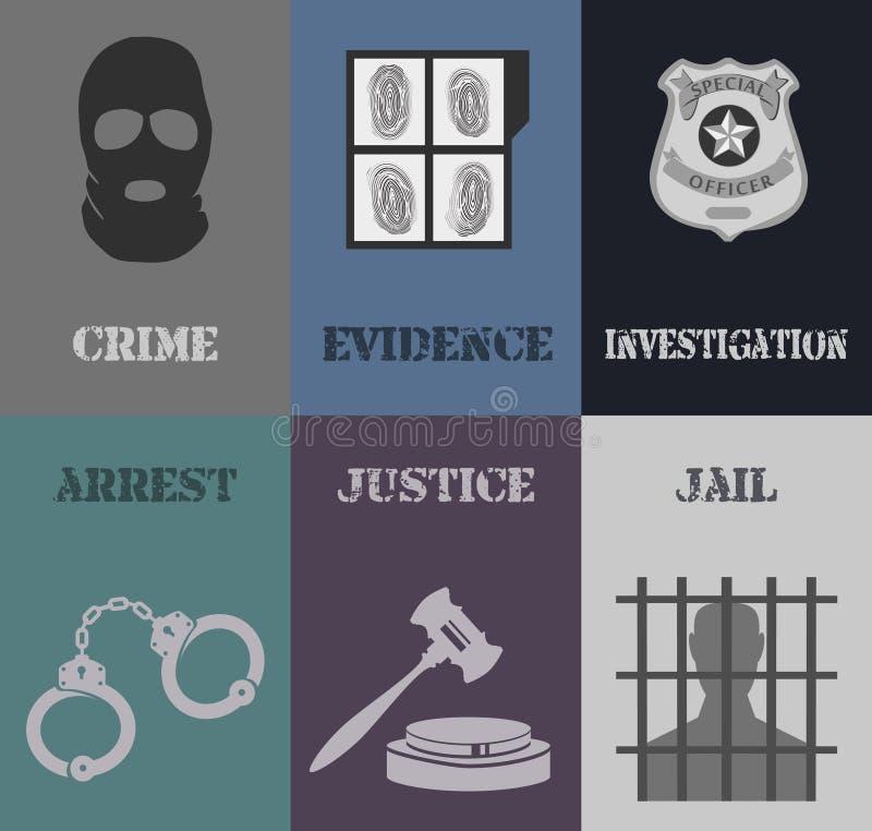 Police mini posters vector illustration