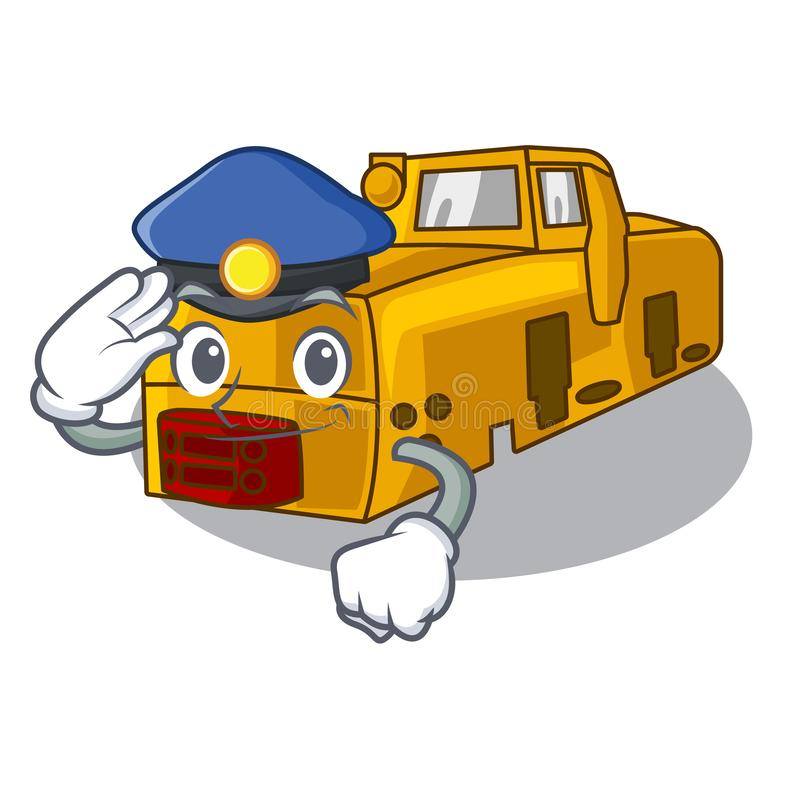 Police miniature locomotive mine in cartoon shape. Vector illustration stock illustration