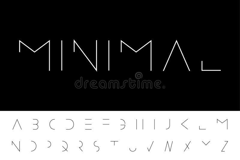 Police minimale de vecteur - conception futuriste moderne Alphabet anglais créatif, lettres latines minces illustration stock