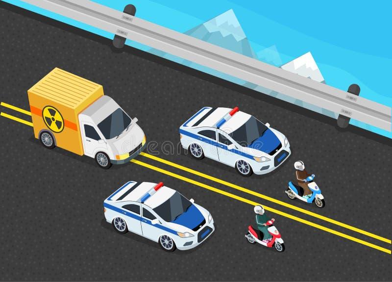 Police Motorcade Car Important Toxic Load vector illustration