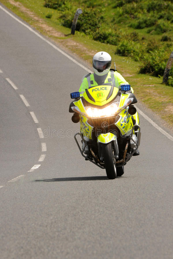 Police motorbike on a country road stock photo