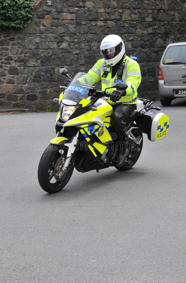Police motorcycle Guernsey stock image