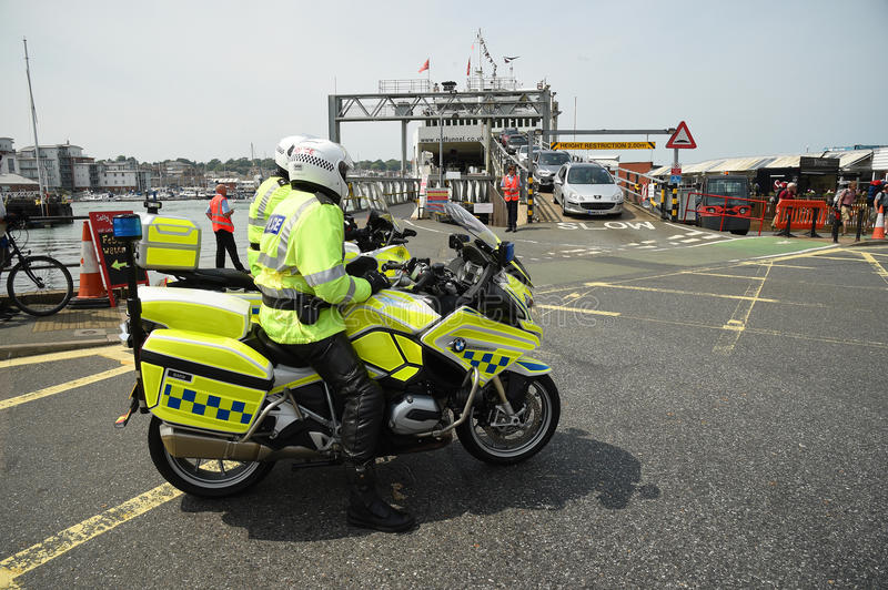 Police motorcyclists on the Isle of Wight royalty free stock photos