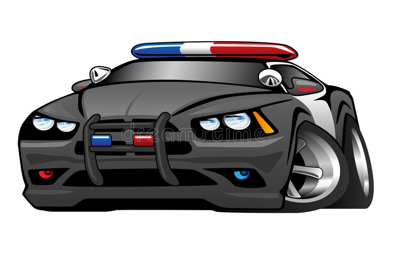 Police Muscle Car Cartoon Illustration royalty free illustration