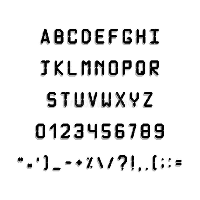 Police noire imprimée Lettres et symboles simples illustration de vecteur