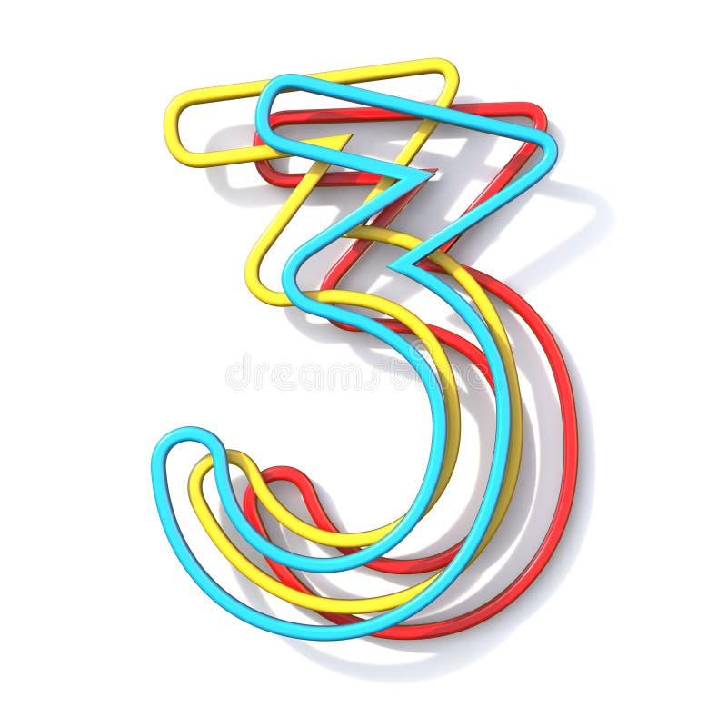 Police numéro de base 3 de fil de la couleur trois TROIS 3D illustration stock