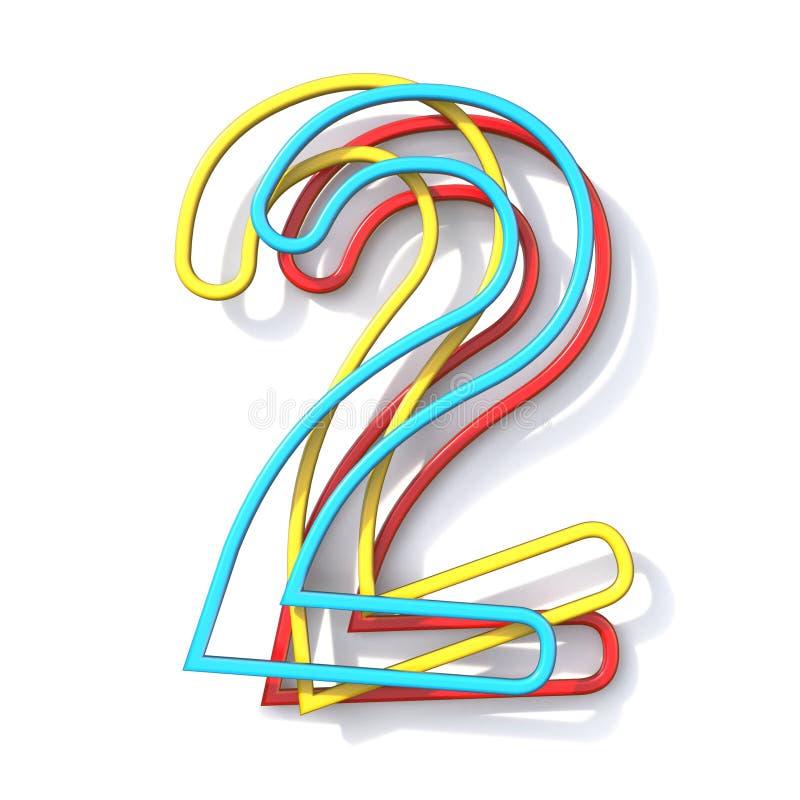 Police numéro de base 2 de fil de la couleur trois DEUX 3D illustration stock