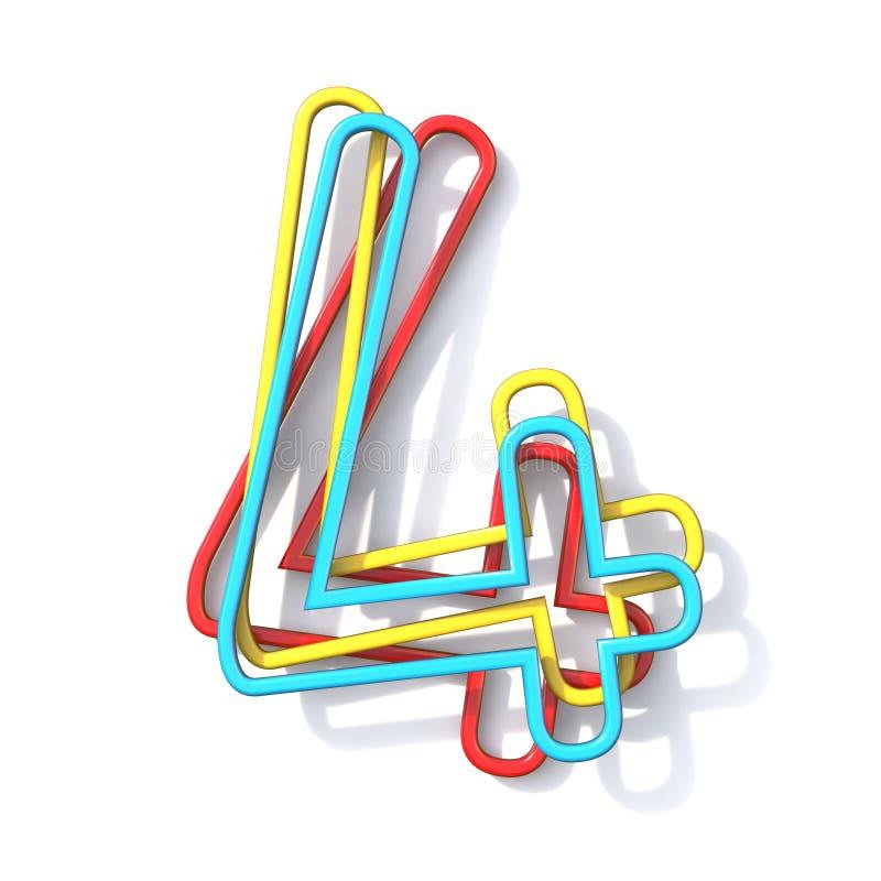 Police numéro de base 4 de fil de la couleur trois QUATRE 3D illustration de vecteur