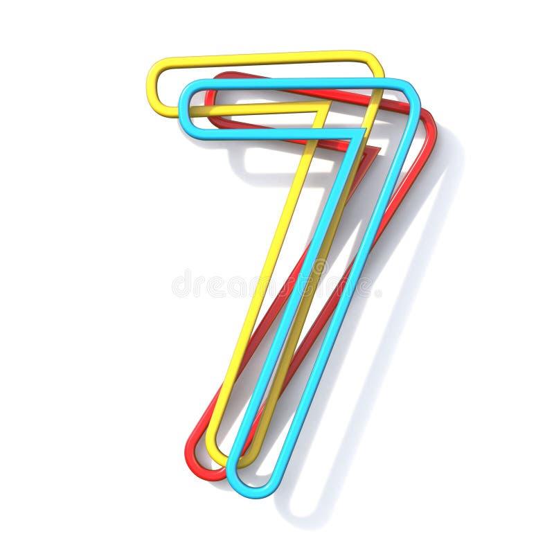 Police numéro de base 7 de fil de la couleur trois SEPT 3D illustration de vecteur