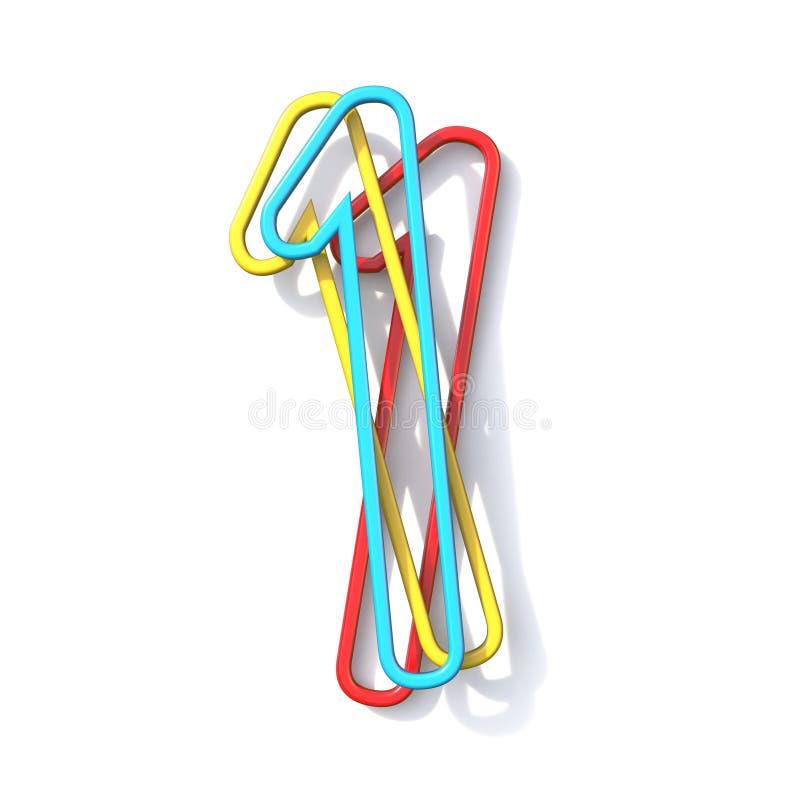 Police numéro de base 1 de fil de la couleur trois UN 3D illustration de vecteur