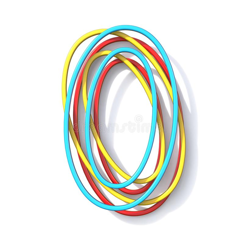 Police numéro de base 0 de fil de la couleur trois ZÉRO 3D illustration libre de droits