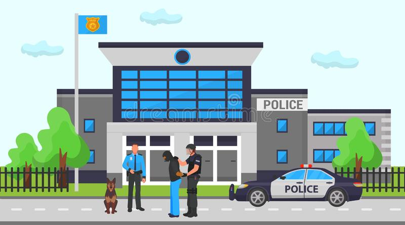 A Police Officer In Front Of A Police Station Stock Vector - Illustration of graphic, gentleman: 31912134