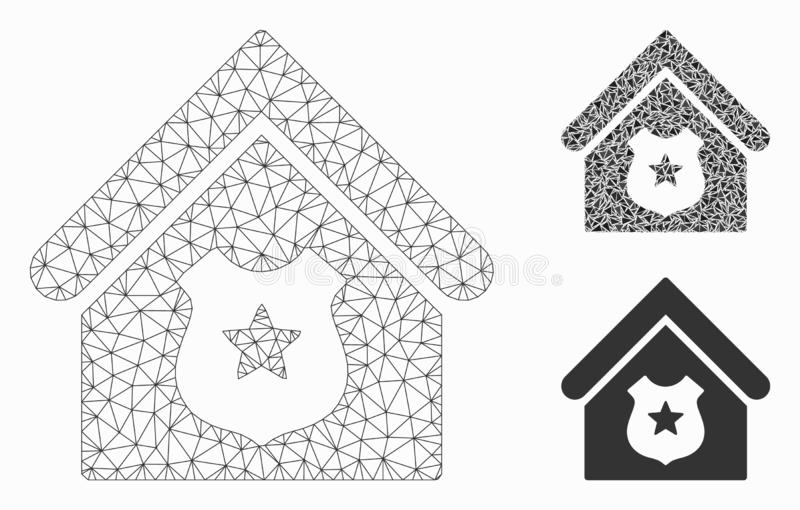 Police Office Vector Mesh Carcass Model and Triangle Mosaic Icon. Mesh police office model with triangle mosaic icon. Wire carcass triangular network of police royalty free illustration