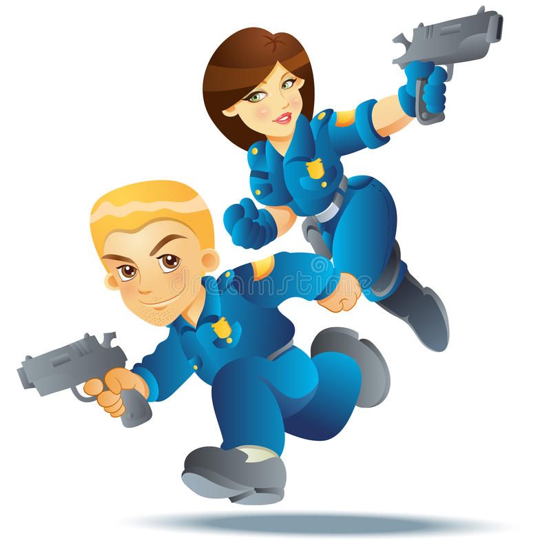 Police Officer in Action. With hand gun royalty free illustration