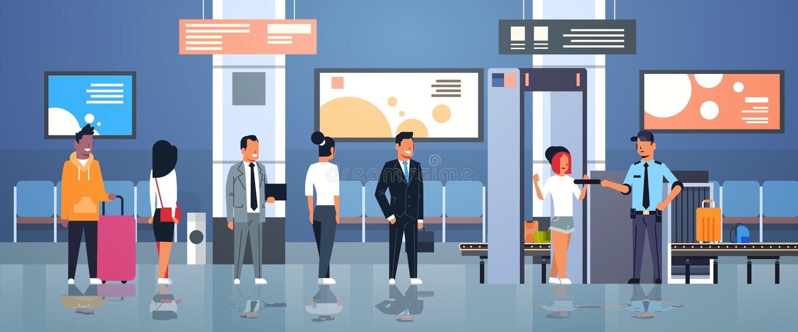Police officer checking passengers and luggage at metal detector x-ray gate full body scanner airport security check. Concept department terminal interior flat stock illustration