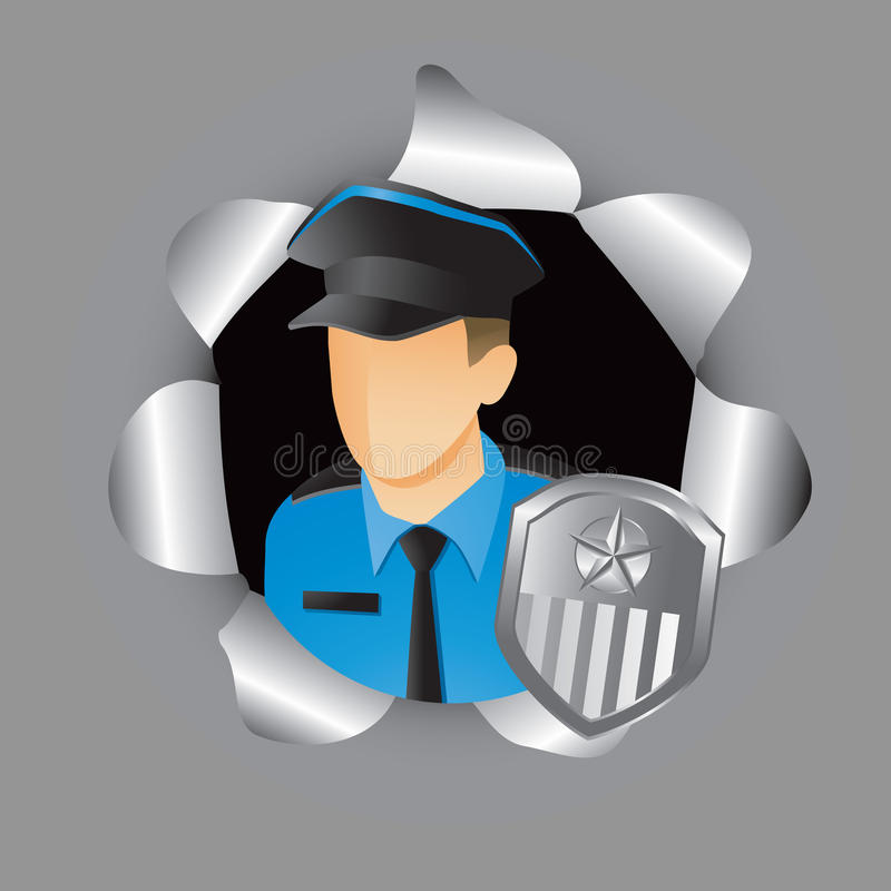 Police officer coming out of hole royalty free illustration