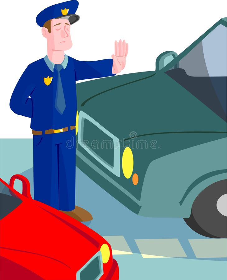 Police officer directing traffic stock illustration