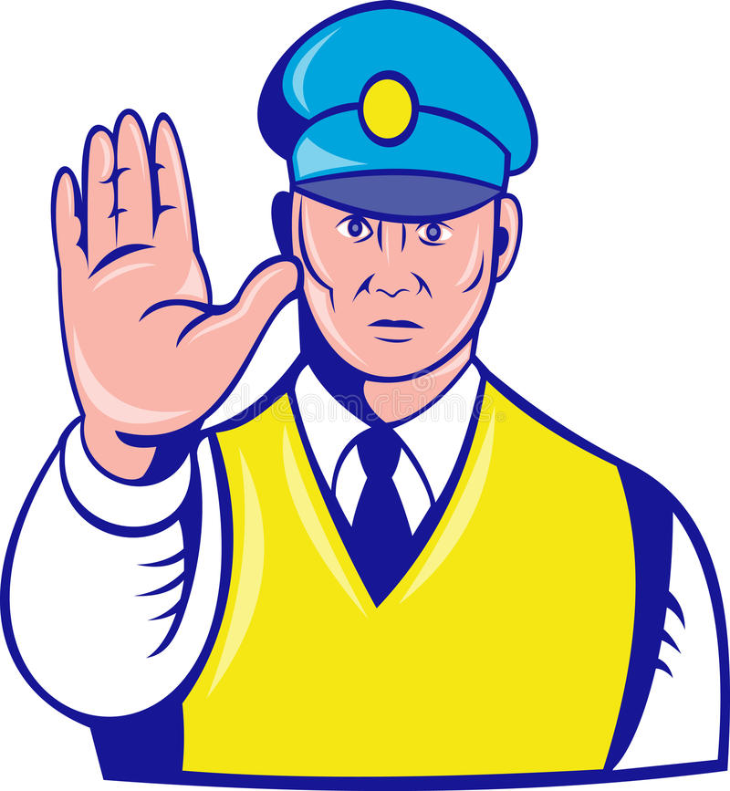 Download Police officer hand stop stock illustration. Illustration of policeman - 15938832