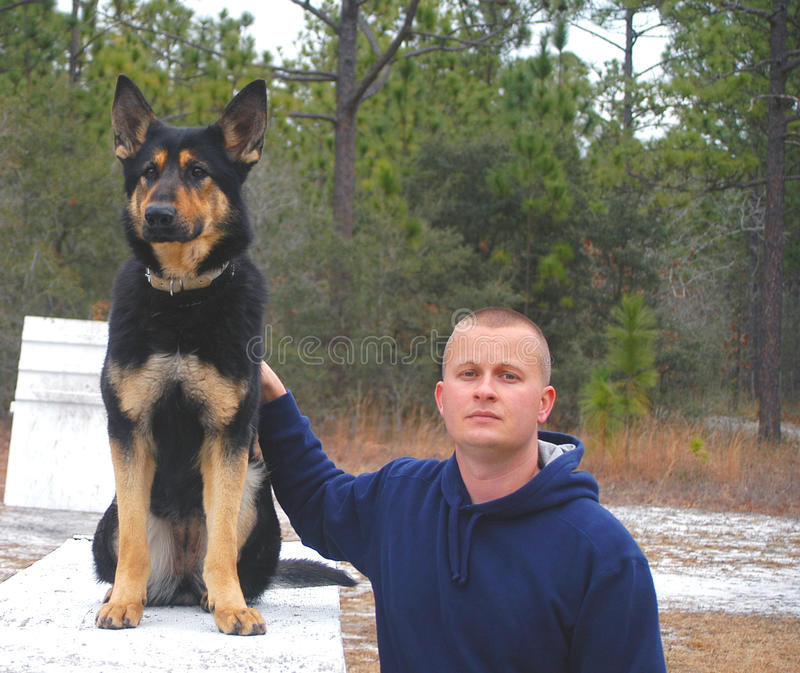 Police Officer and his K9 partner royalty free stock images