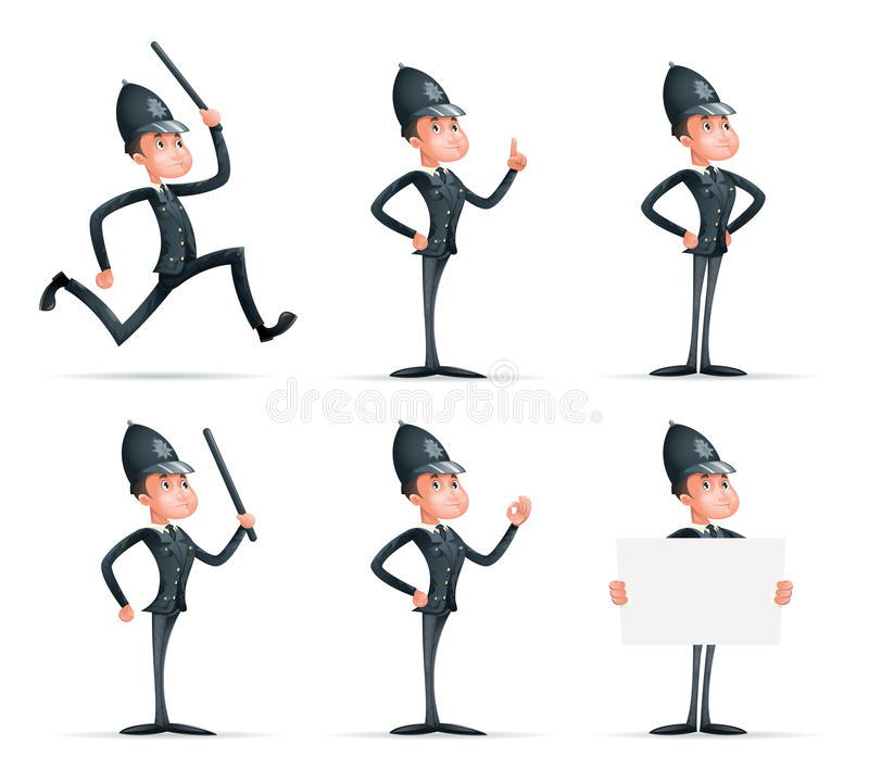 Police Officer Man Uniform Cop Order Law Policeman 3d Security Protection Cartoon Mascot Character Isolated Icons Set vector illustration