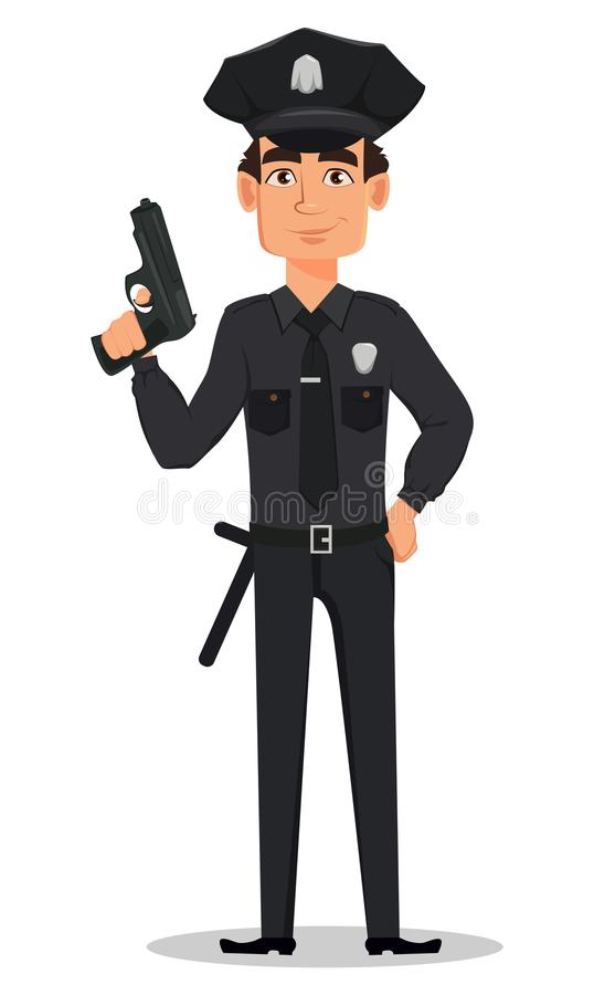 Police officer, policeman with a gun. Smiling cartoon character cop. Vector illustration isolated on white background vector illustration