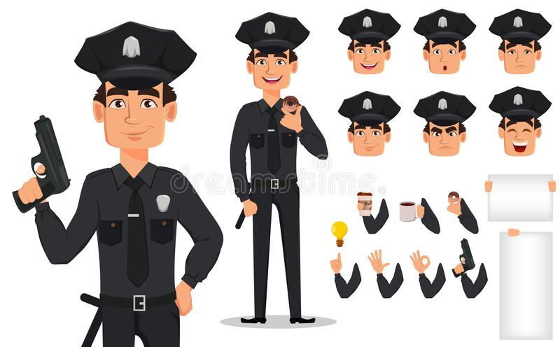 Police officer, policeman. Pack of body parts and emotions stock illustration