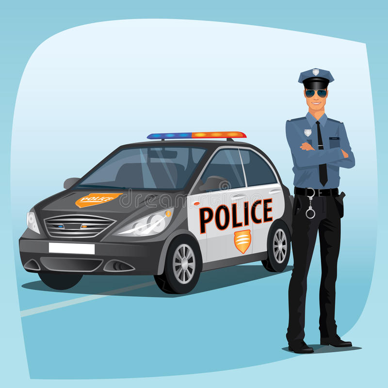Police Officer Or Policeman With Patrol Car Stock Vector