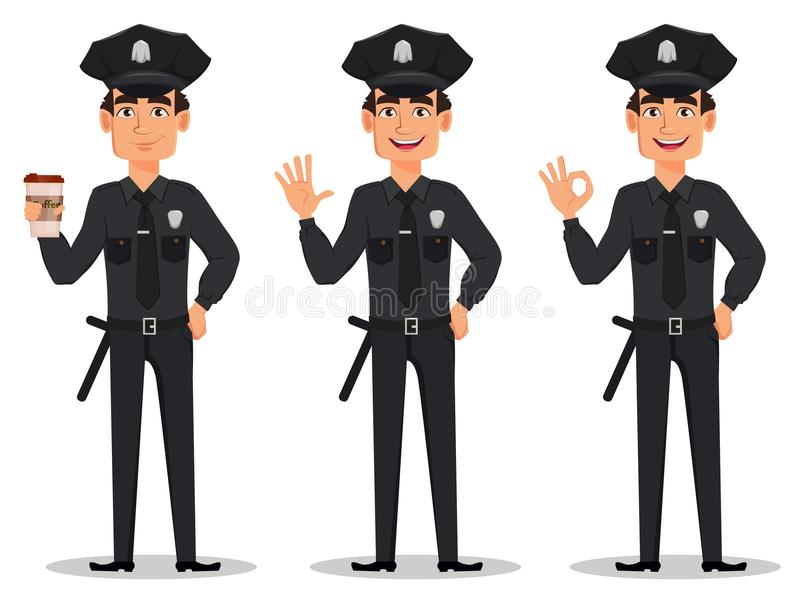 Police officer, policeman. Set of cartoon character cop with a cup of coffee, waving hand and showing ok sign. Vector illustration isolated on white background royalty free illustration