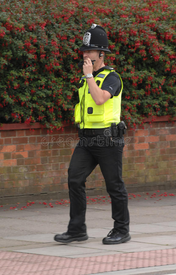Police officer radio call royalty free stock images
