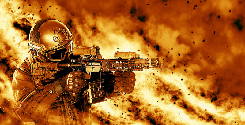 Police officer SWAT. Spec ops police officer SWAT in black uniform with rifle making his way through the fire. Studio shot on black background. Police assault stock photo