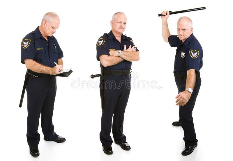 Download Police Officer Three Views stock image. Image of hitting - 7544939