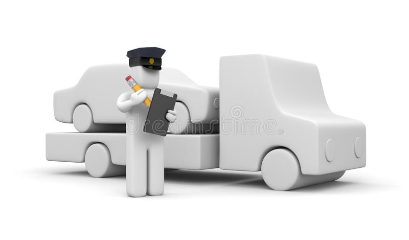 Police Officer Towing Auto Royalty Free Stock Photography