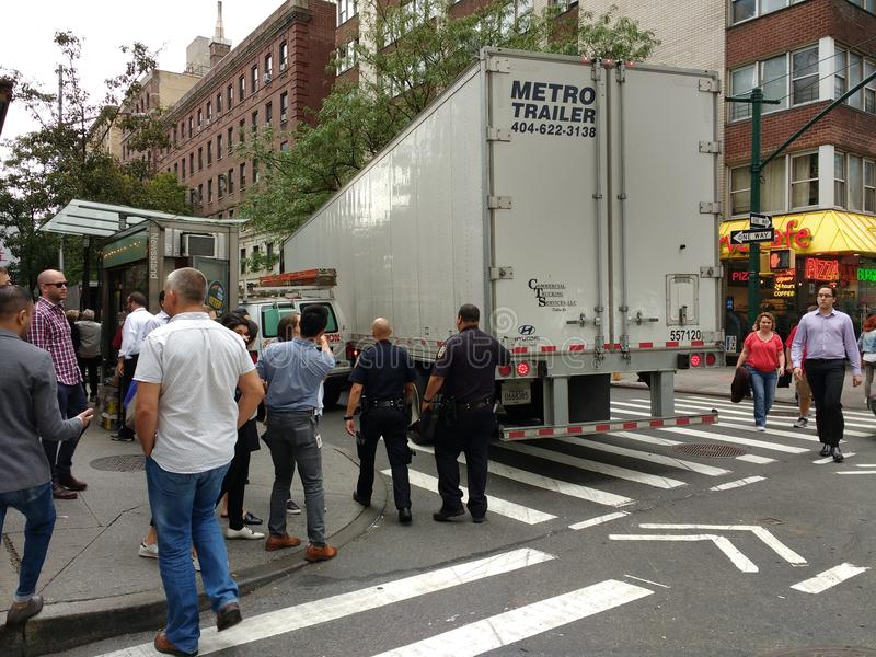 Police Arrive to the Scene of an Accident, NYC, NY, USA stock photos