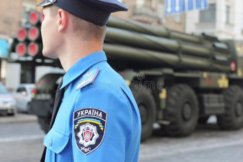 Police officers on guard of law and order. Police patrol the streets of Ukraine during the passage through the city Kiev military equipment. parade dedicated to royalty free stock photo