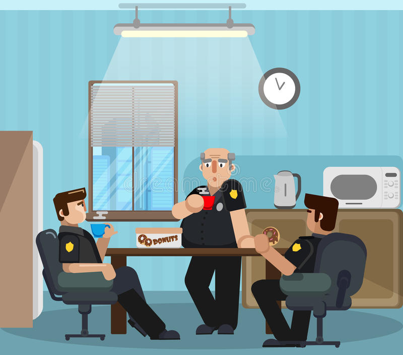 Police officers have a rest, drink coffee and donuts in a specially designated room. royalty free stock image