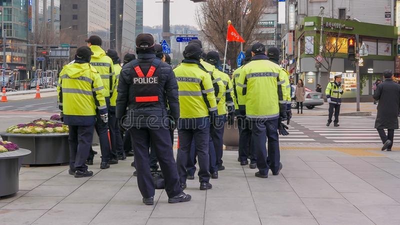 Police officers near gwanghwamun square during political demonstration, Seoul, South Korea, 02 December 2017 royalty free stock photos