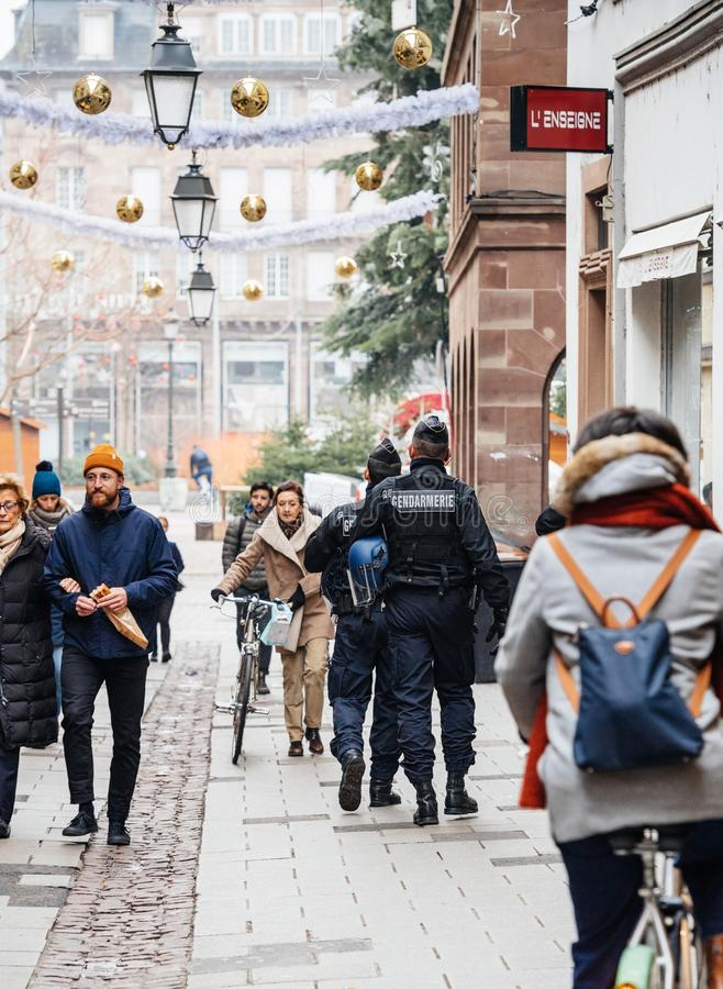 Police officers securing city center of Strasbourg after terrori royalty free stock image