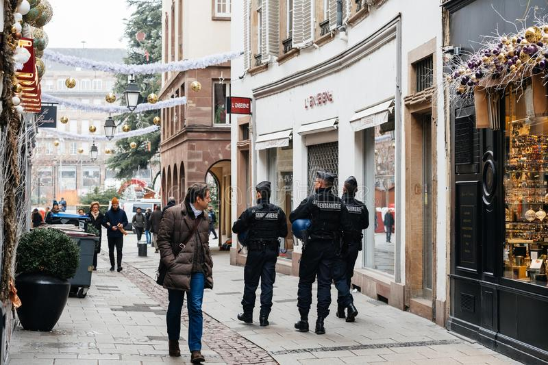 Police officers securing city center of Strasbourg after terrori royalty free stock photos