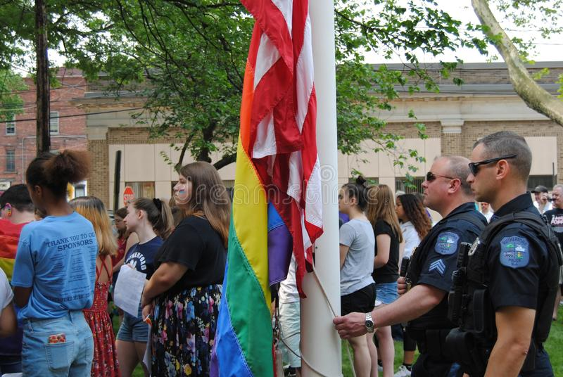 Pride Flag Raising Event, Police Officers Ready to Raise the Flags, Rutherford, NJ, USA royalty free stock image