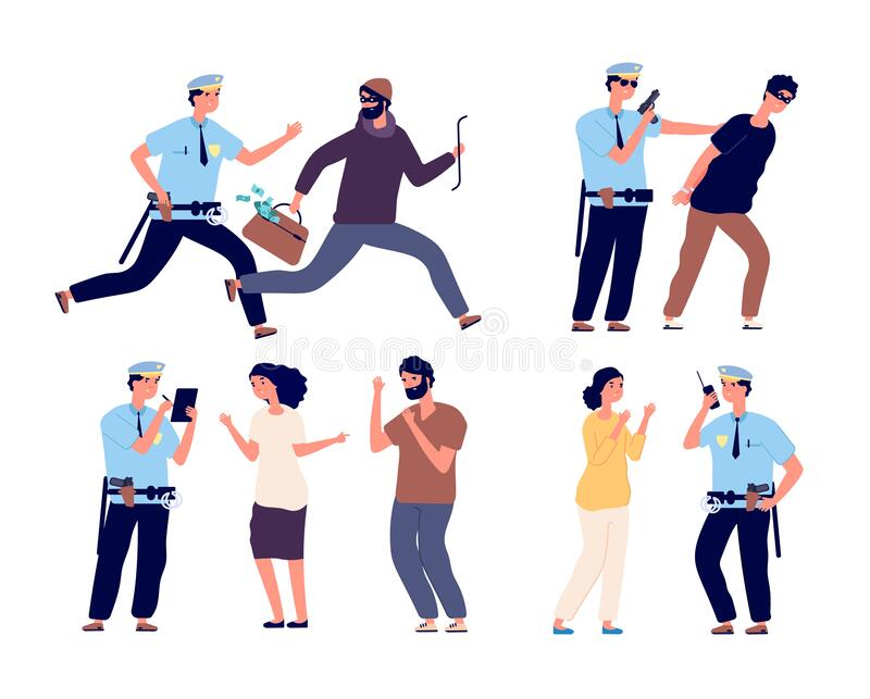 Police officers at work. Cop patrol catching up thief, policeman arrest criminal character, law job, help to victim. Vector set. Cop officer and criminal, guard vector illustration