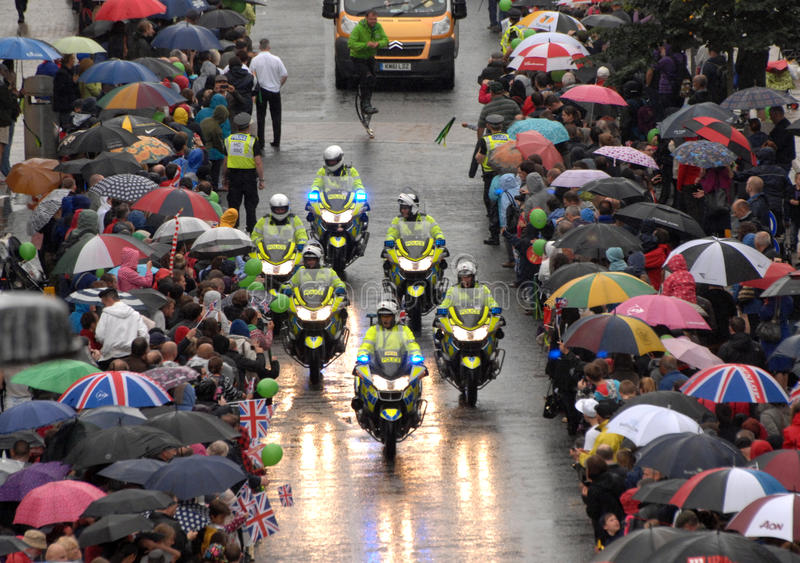 Police in the Olympic rain stock image