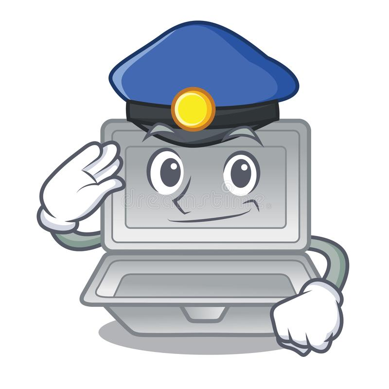 Police open styrofoam in the cartoon shape. Vector illustration vector illustration
