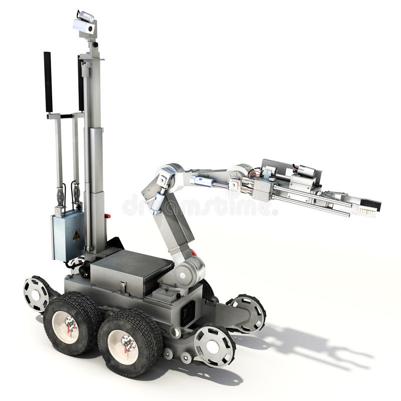 Police ou robot commandé militaire d'escadron de la mort sur un fond blanc d'isolement illustration de vecteur
