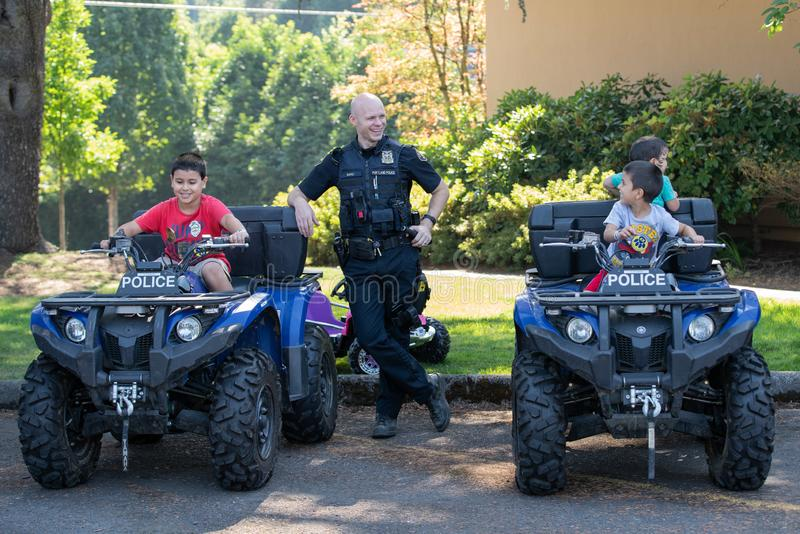 Police outreach to young kids stock images
