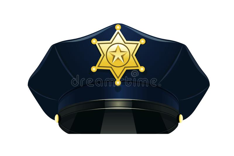 Police peaked cap with star on white background. Illustration design stock photography